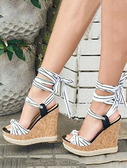 Chic Round Toe Lace-Up Wedge Sandals