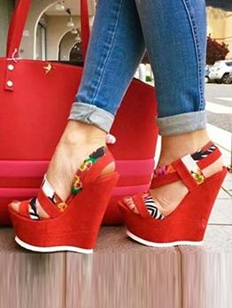 High Platform Color Block Wedge Shoes For Women