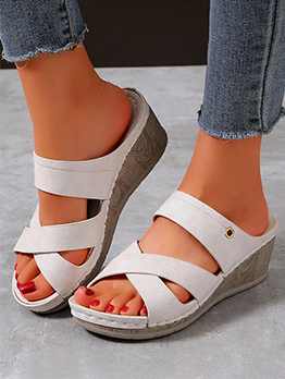 Simple Hollow Out Cross Solid Ladies Slippers