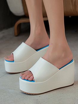 Casual Contrast Color Home Wedges Shoes