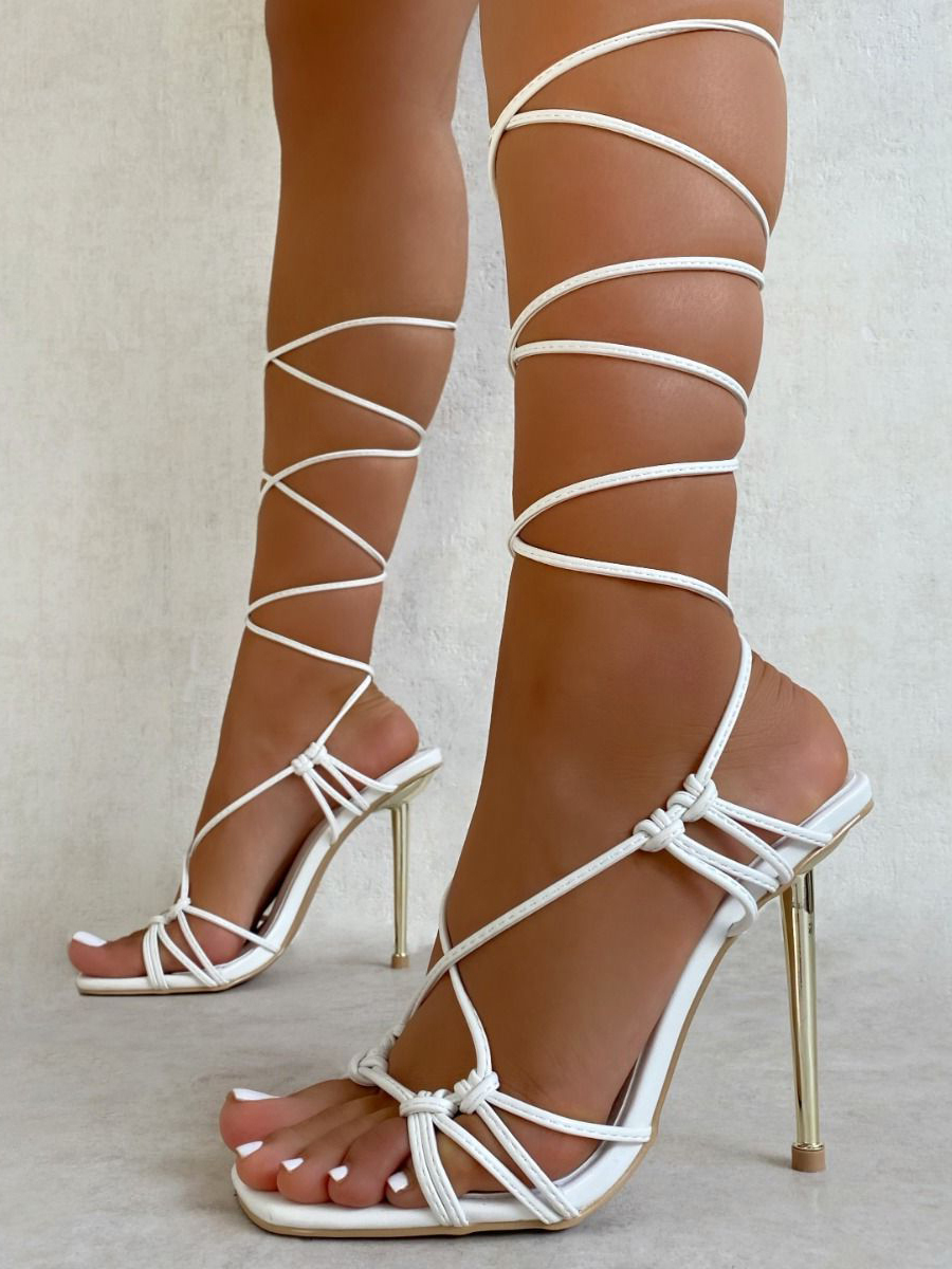 Sexy Lace Up Square Toe Heel Sandal