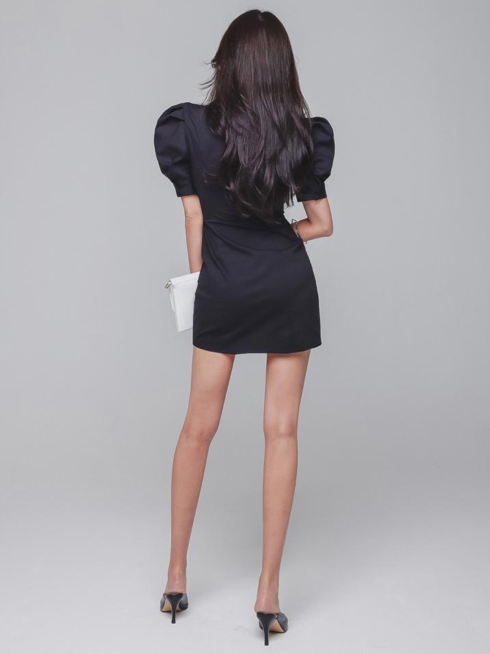 Fashion Summer Fitted Puff Sleeve Shirt Dress