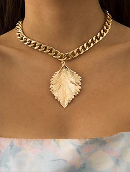 Simple Hip Hop Leaf Pendant Thick Necklace