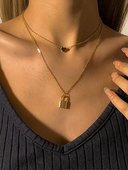 Simple Chain Lock Shape Pendant Necklace