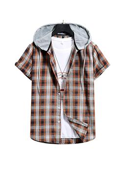 Summer Plaid Brown Hooded Collar Men Shirt