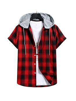 Plaid Red Short Sleeve Hooded Collar Men Shirt