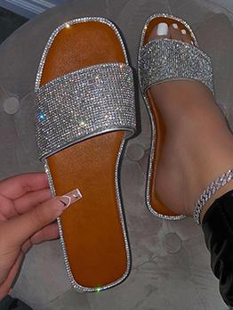 Chic Glitter Sequined Ladies Slide Slippers
