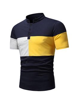 Casual Stand Collar Contrast Color Men POLO Shirt