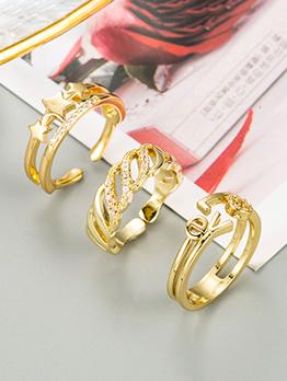 Fashion Star Letter Rhinestone Geometry Ring