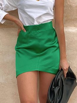 Satin Pure Color Pencil High Waisted Skirt