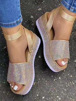 New Trend Rhinestone Ankle Strap Wedge Sandals