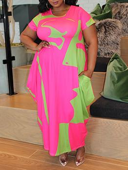 Color Block Short Sleeve Plus Size Maxi Dresses