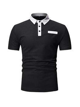 Summer Contrast Color Button Up Men POLO Shirt