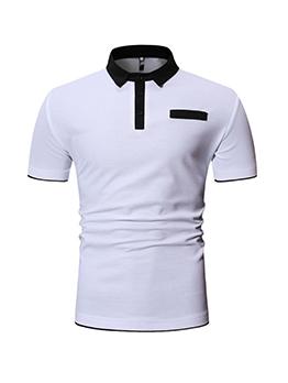 Patchwork Short Sleeve Fake Pocket POLO Shirt