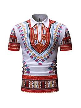 Fashion Casual Printed Short Sleeve Polo Shirt