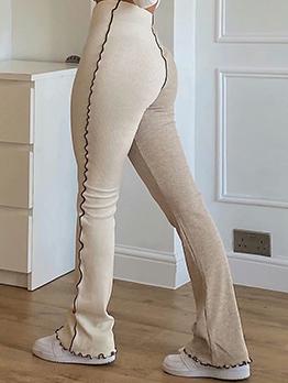 Contrast Color High Waist Casual Long Pants