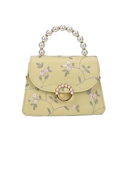 Pretty Flower Print Faux Pearl Chain Shoulder Bags