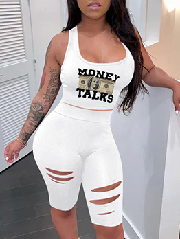 Casual Sport Printed Tank Top Hollow Out Pants Sets