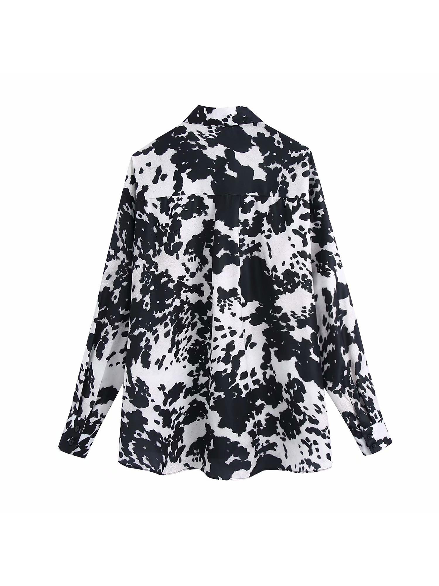 New trend turndown neck printed loose long blouse