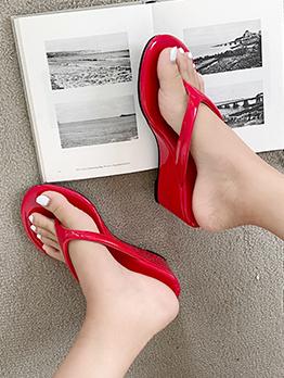 Summer Round Toe Solid Wedge Flip Flops