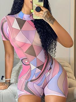 Fashion Gauze Print Short Sleeve Summer Romper