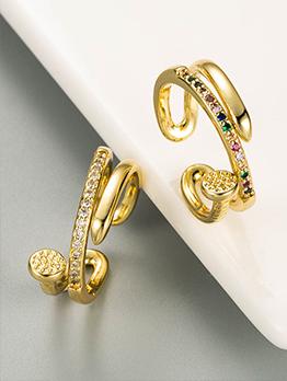 Latest Style Geometry Zircon Design Ring