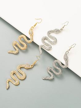 Trendy Cool Snake Shape Rhinestone Earrings