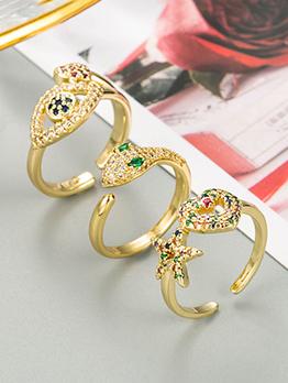 Vogue Create Inlay Zircon Simple Geometry Ring