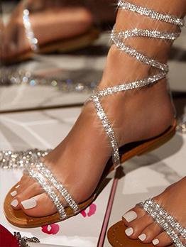 Glitter Round Toe Rhinestone Lace Up Sandals