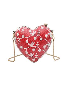 Korean Lace Love-Shape Cute Chain Small Shoulder Bag