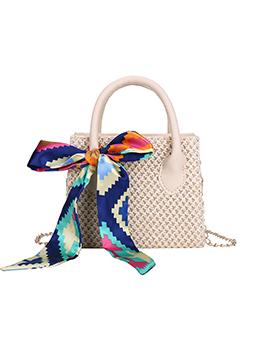 Vintage Pure Color Weave Ladies Side Bags