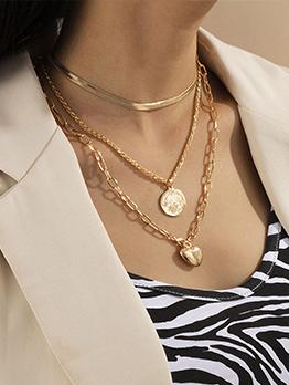 Vintage Temperament Heart Pendant Layered Necklace
