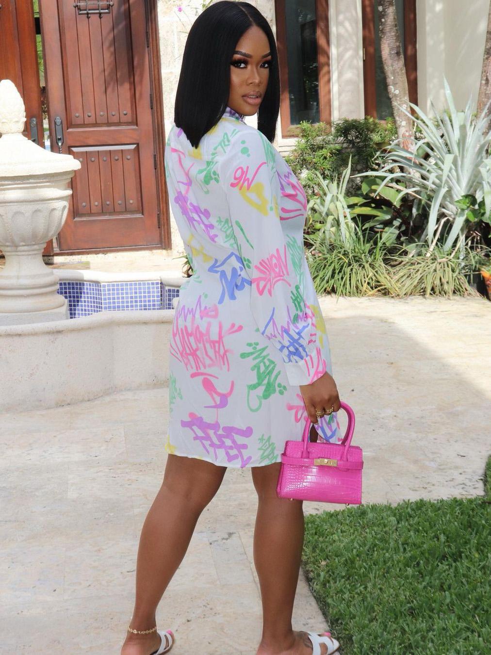 Colorful Letter Long Sleeve Summer Dress