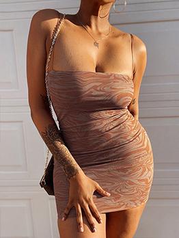 Sexy Camisole Boat Neck Sleeveless Bodycon Dress