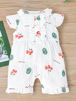 Cute Print Single Breasted Short Sleeve Romper