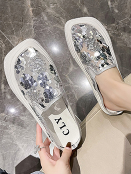 Fashion Sequined Square Toe Slip On Shoes