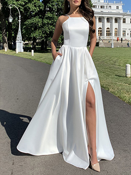High Vent Backless White Party Dresses For Ladies