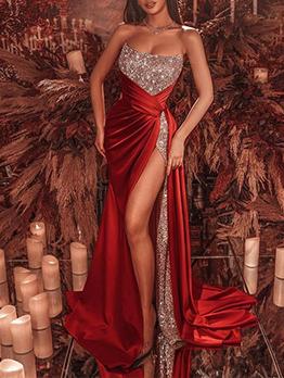 Elegant Ladies Sequined Patchwork Slit Strapless Evening Dresses