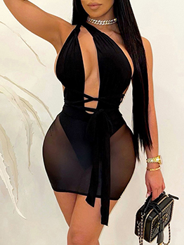 Sexy Plus Size Inclined Shoulder Mini Dress