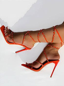 Euro Mental Chain High Heel Sandals For Women