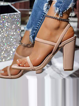 Summer Pure Color Fashion Chunky Heel Sandals