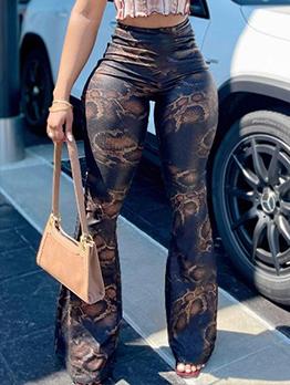 Snake Printed Casual Fashion Skinny Bootcut Pants