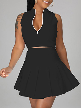 Casual Solid Two Piece Skirt Sets