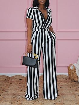 Fashion Contrast Color Striped 2 Piece Sets