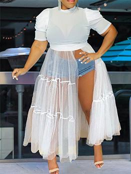 Sexy White Gauze Plus Size Maxi Dress