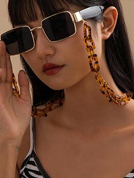 Vintage Leopard Geometric Sunglasses Halter Chain