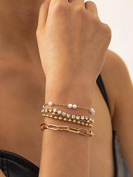 Hip Hop Layered Faux Pearl Geometric Bracelet