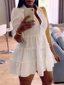 Fashion Solid Half Sleeve Short Dress