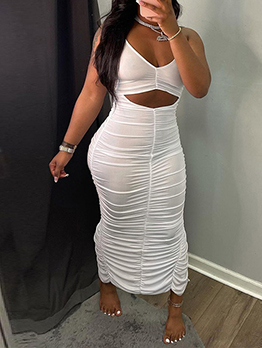 Hollow Out Sexy Ruched Backless Maxi Dress