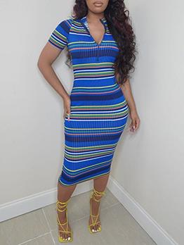 Casual Striped Short Sleeve Midi Dress